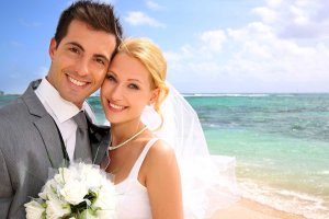 Wedding photo of couple on beach