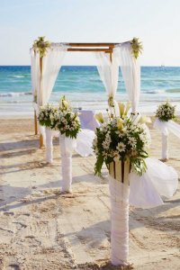 Marriage altar on beach