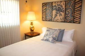 twin bed with blue pillows