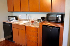 kitchenette with microwave and dishwasher