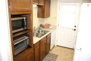 kitchen microwave and toaster oven