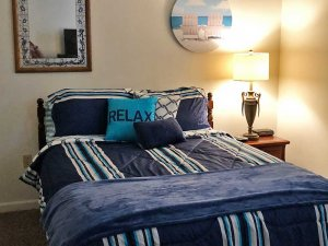 Blue Striped Bedding and Blanket
