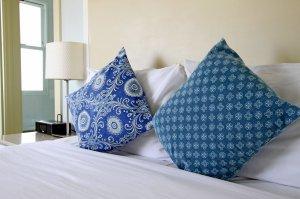 Blue throw pillows