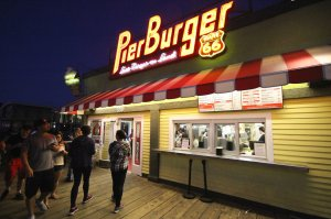 Burger joint at night