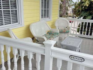 private balcony with wicker furniture