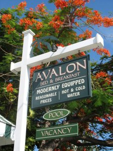 Avalon Bed and Breakfast modernly equipped reasonable prices hot and cold water pool vacancy sign