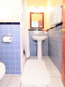 pedestal sink with blue tile surround