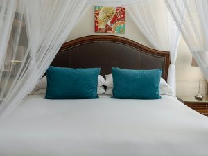 headboard with blue throw pillows