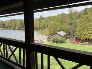 Deck view of Lakeside Cabins