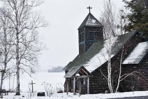 Church Covered in Snow
