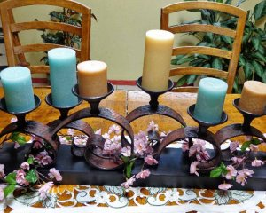 Pastel Candles and Flower Petals