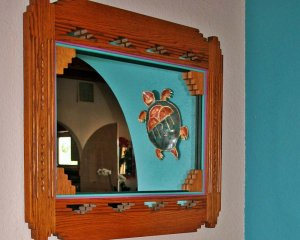 Mirror Showing Turtle Decor