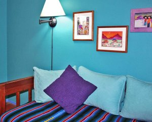 Purple Striped Day Bed with Pillows