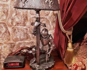 Metal knight in armor Lamp