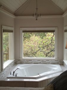 heart-shaped tub with chandelier and windows