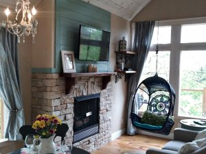 fireplace and tv with swing