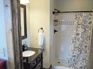 bathroom with standing shower and sink