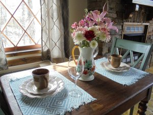 dining table for two with flowers