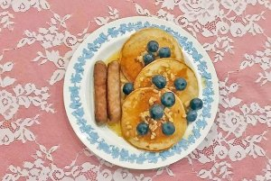 blueberry Pancakes and Sausage