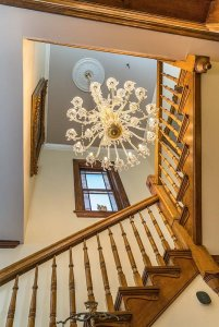 Chandelier Over Winding Staircase