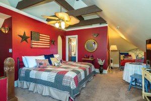 red white and blue decor and bed