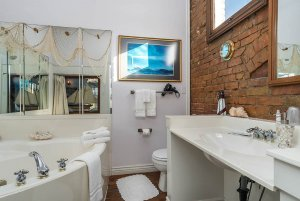 bathroom with ocean netting