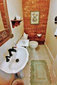 vintage sink near toilet