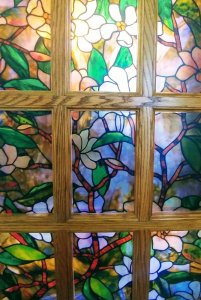 flower garden stained glass window