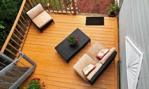Wooden Deck with Couch and Chairs