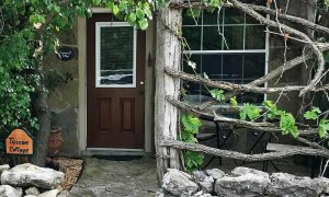 Stone Paved Entryway with Door