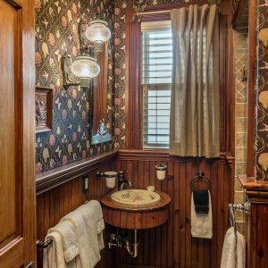 Mirror above sink in bathroom