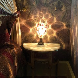 Lamp with special lighting next to bedside