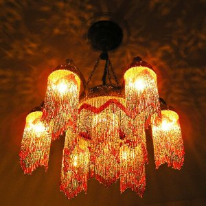 Glowing hanging chandelier