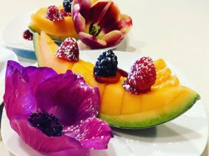 Sugared flower and melon