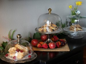Displays of small pastries