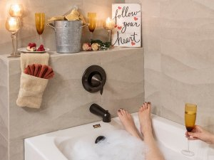 Person taking bubble bath