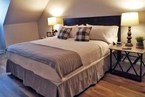 Bed with Plaid Pillows