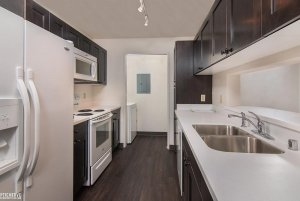 kitchen fridge, counter, and stove with dark wood cabinets