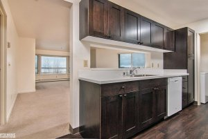 kitchen with wooden floors and cabinets