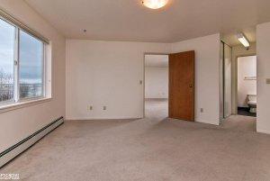 empty bedroom window and door