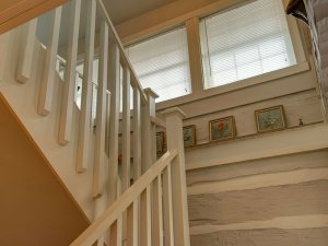 Staircase turning upstairs