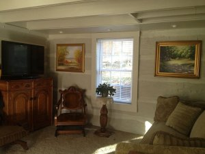 Couch, chair, and television in living room with window
