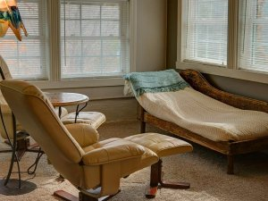 Chair and lounge chair in living room
