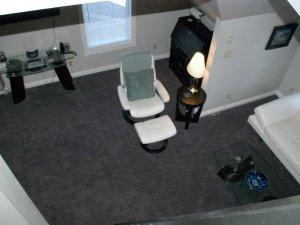 Living room seen from second floor bedroom