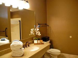 Sink, toilet, and mirror in bathroom