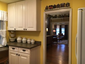 Cabinets on wall above countertop