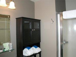 Glass door next to cupboard and towels in bathroom