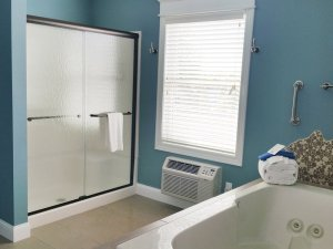 Glass door shower across from whirlpool tub in bathroom