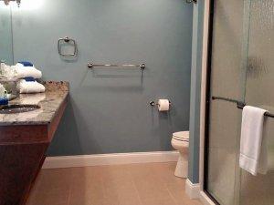 Glass shower across from sink in bathroom