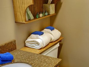 Folded towels on shelf above toilet